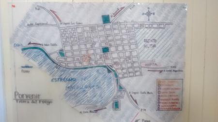 Mapa de Porvenir no albergue Yendegaia